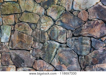 Real Stone Wall Surface With Cement.