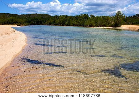Pond Coastline  In The  Blue Lagoon Relax  Bush   Madagascar  Nosy