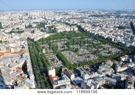 Montparnasse cemetery in Paris France as seen from high above.