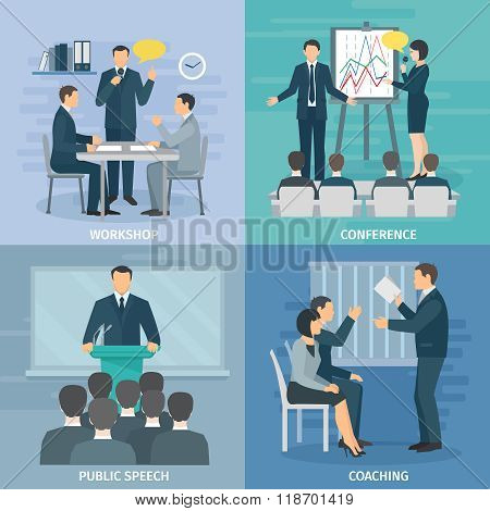 Public Speaking 4 Flat Icons Square
