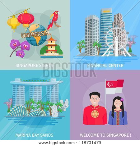 Singapore Culture 4 Flat Icons Square