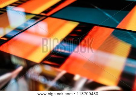 Led Floor Technology Bright Orange Pattern Electronic Reflection