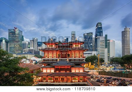 Contrast Of Historical Architecture With Modern Backdrop - Singapore