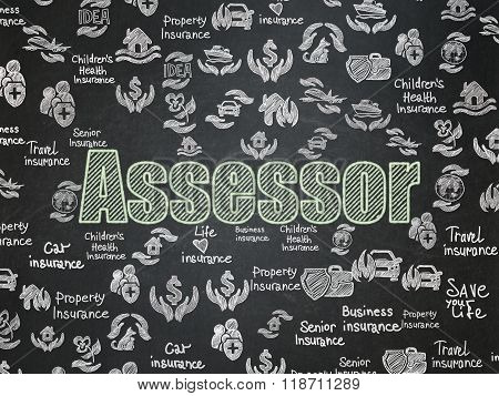 Insurance concept: Assessor on School Board background