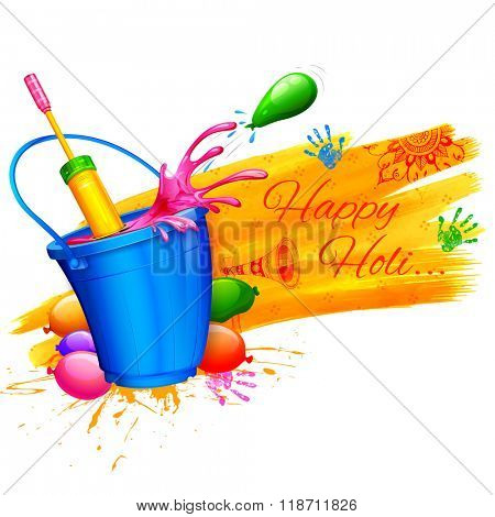 illustration of spalsh with object coming out from bucket in Happy Holi Background