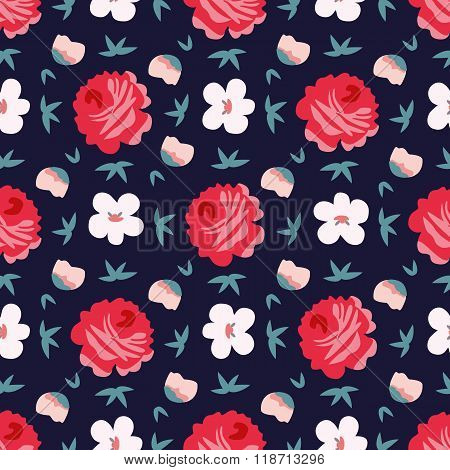 seamless vintage flower pattern vector