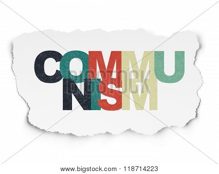 Politics concept: Communism on Torn Paper background