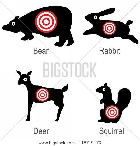 An image of a set of hunted animal targets.