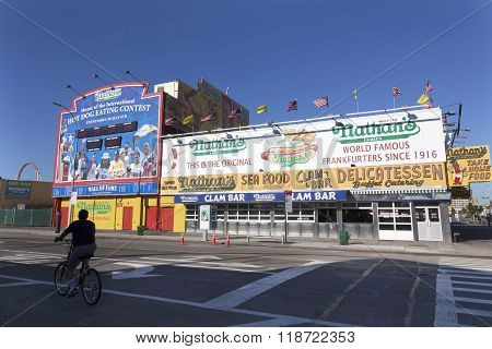 Nathan's Seafood Hamburger Clam Bar Delicatessen Food Place In Coney Island New York City