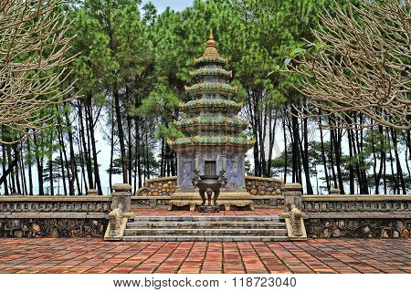 The Thien Mu Pagoda along the Perfume River in Hue, Vietnam
