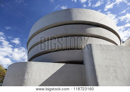 New York City, 14 September 2015: South Facade Of Museum Guggenheim In New York City