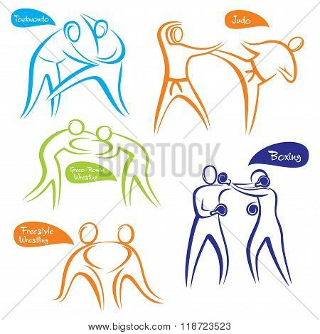 abstract different sports symbol design vector