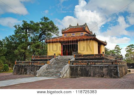 The Ming Mang Tomb complex of gates, buildings and statues near Hue, Vietnam, Asia