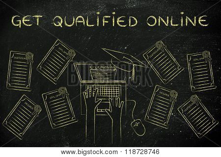 Get Qualified Online, E-learning Student Surrounded By Degrees