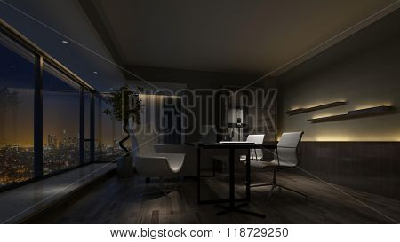 Darkened dimly lit empty interior of a home office at night with a view window overlooking the city. 3d rendering