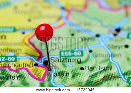 Hallein pinned on a map of Austria