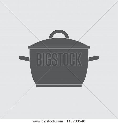 Pot or cooking pan icon. Saucepan silhouette. Vector illustration.