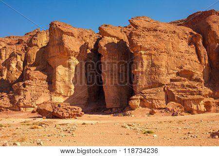 The Famous Solomons Pillars geological and historical place in Timna Park near to Eilat Israel. The first copper mines in the history and the Hathor temple were here.