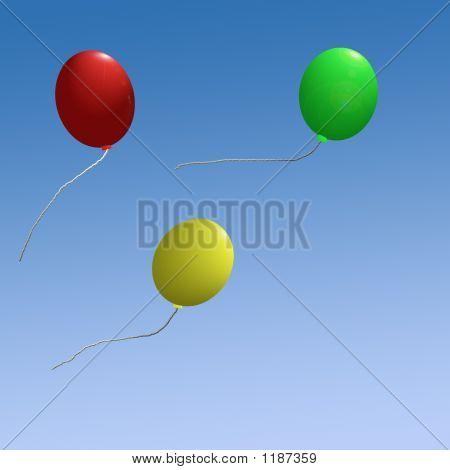 Three Balloons On Blue Sky