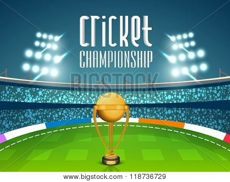 Golden Winning Trophy on night stadium lights background for Cricket Championship concept.