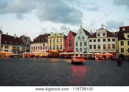 City center of Tallinn, Estonia at night