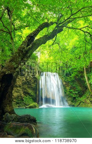 Forest Waterfall At Erawan Waterfall National, Kanchanaburi,thailand