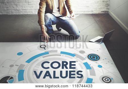 Core Values Principles Ideology Moral Purpose Concept