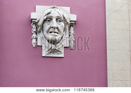 countenance, visage, phiz, mug, frontispiece, feature, muz, face, appearence, wall, sculpture, carvi