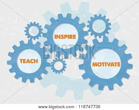 teach inspire motivate - text in colored grunge flat design gear wheels education motivation concept words poster