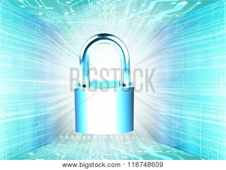 bright digital lock in a virtual environment symbolizing electronic protection