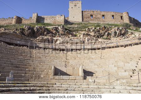 Roman Theatre And Medellin Castle, Spain
