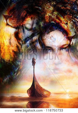 Viking Boat on the beach, and lion head, collage painting on canvas, Boat with wood dragon. structur