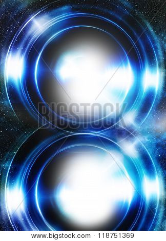 Color abstract background in cosmos stars and light circle. Copy space.