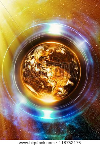 Planet Earth in light circle, Cosmic Space background. Computer collage. Earth concept. Planet earth