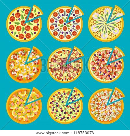 Set Of Pizza Icons In A Flat Style Isolated On Blue Background.