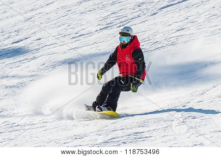 Skier skiing on Deogyusan Ski Resort in winter South Korea