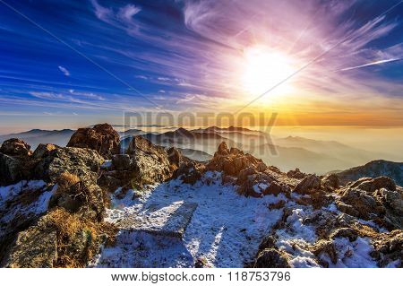 Winter Landscape With Sunset And Foggy In Deogyusan Mountains, South Korea.