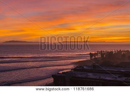 Orange pacific ocean sunset on Ventura, California.
