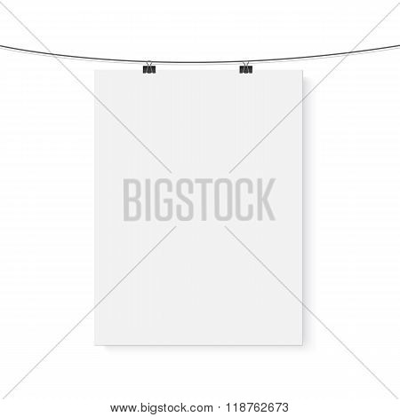 Isolated Vector Poster Mockup. Realistic Vector EPS10 Paper Vert