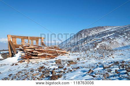 Woodpile In The Tourist Destination