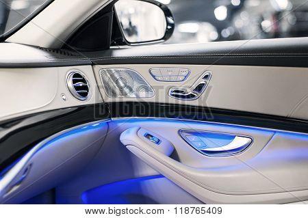 Car interior detail. Comfortable modern salon