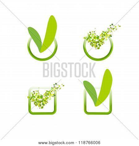 Green check mark flat style set