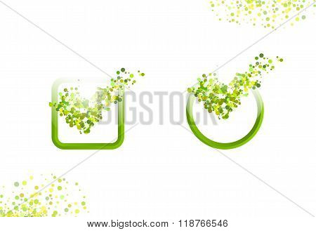 Green oxygen dots check marks