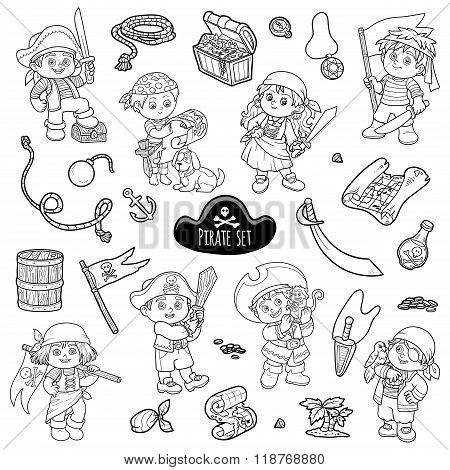 Vector set of pirate items colorless cartoon collection characters pirates poster