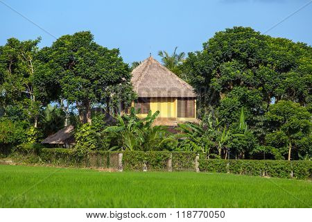 Beautiful house on rice fields in Ubud, Bali, Indonesia.