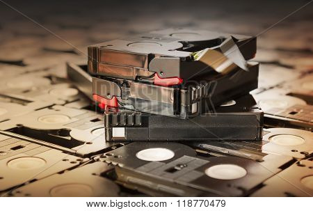 Sepia Antique Colour Abandoned Pile Of Old Useless Mini Dv (video Recording Cassette Tape)
