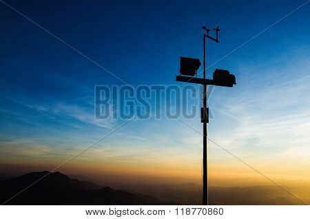 The wind anemometer with landscape In Thailand