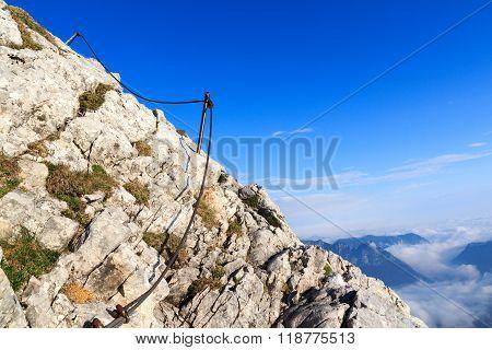 The steel cable from the via ferrata onto the mountain Watzmann
