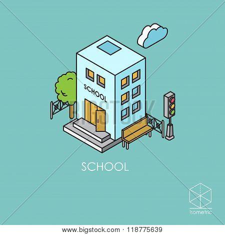 Isometric Colr Vector Icon School