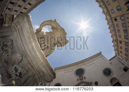 Low-angle and fisheye view of the Obelisk  in Piazza della Rotonda. Rome